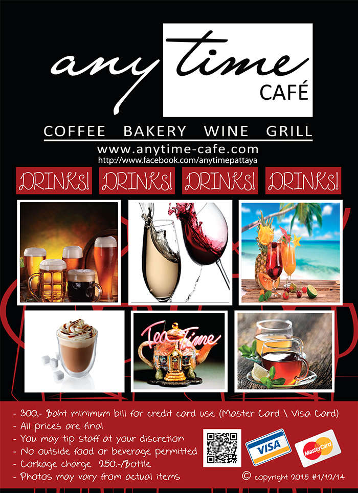 Anytime Cafe Drink List